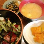 今日の平野区喫茶アンのランチはマグロ丼&カボチャと大根と小芋の煮物&味噌汁