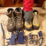 登山靴とアイゼンとスパッツ買いました♪