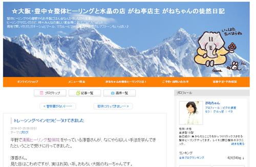 大阪のヒーリング整体院で感想を書いてもらったブログ